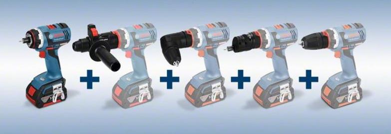 Акумулаторни пробивни винтоверти BOSCH GSR 14,4/18 V-EC FC2 Professional с FlexiClick приставки
